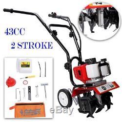 43cc Gas Power 2-Stroke Engine Mini Cultivator Lawn Garden Tiller Plant Tilling