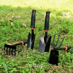 4pcs Garden Tools Set Trowel Rake Shovel Heavy Duty Metal Outdoor Ergonomic USA
