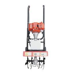 52CC 2 Stroke Gas Powered Tiller Cultivator Plant Garden Farm Tilling Tool 1.9KW