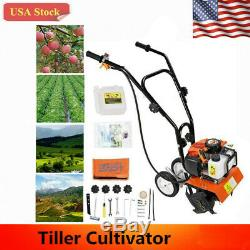 52cc 6500RPM Mini Tiller Soil Garden Cultivator Tilling Plant Farm Yard Tool US