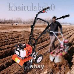 52cc 6500rpm Mini Soil Gas Tiller Cultivator Farm Plant Garden Yard Tilling Tool