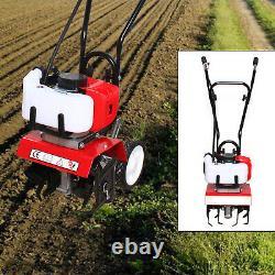 52cc Gas Mini Tiller Soil Tilling Cultivator Plant Farm Garden Yard Tool 6500RPM