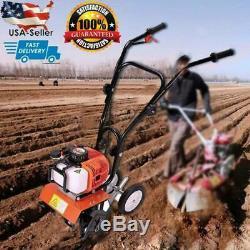 52cc Mini Soil Gas Tiller Cultivator Farm Plant Yard Garden Tilling Tool 6500RPM