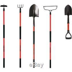 5-Piece Long-Handled Garden Tool Set Yard Shovel Bow Rake Cultivator Hoe NEW