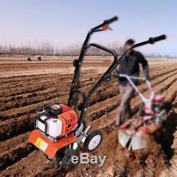 6500rpm 52cc Soil Gas Mini Tiller Cultivator Farm Plant Garden Yard Tilling Tool