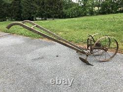 Antique Double Wheel Hoe Cultivator Plow Ellis Keystone Agricultural Works