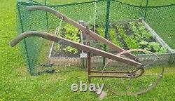 Antique Garden Hand Plow Cultivator Blade Rusted Yard Art Metal Wheel Hudson MFG