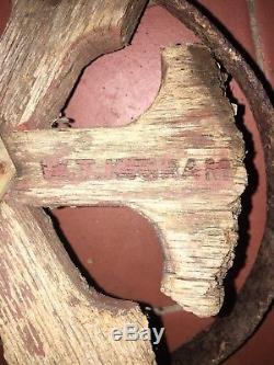 Antique Metal wood Garden Yard Art Hand Push Cultivator Tiller Plow W T Ingram