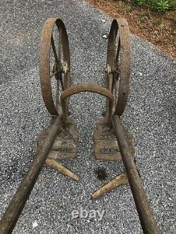 Antique Planet Jr Double Wheel Hoe Steel Frame Cultivator Plow