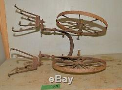 Antique Planet Jr cultivator double 5 tine hoe wheel garden tool collectible P2