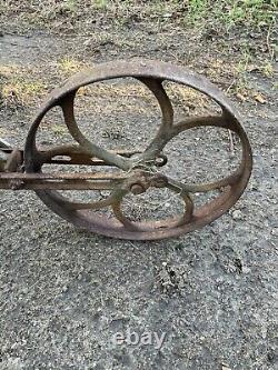 Antique hand plow push tiller cultivator farm garden yard tool vintage