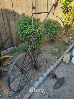 Antique hand plow push tiller cultivator with extra attachment
