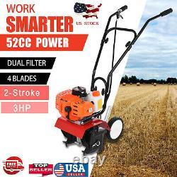 Garden Tiller 52cc 2-Stroke 3HP Rototiller Petrol Cultivator Engine Lawn Yard US