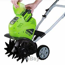 GreenWorks 27062 GMAX 10-inch 40V Cordless Cultivator Green withBattery & Charger