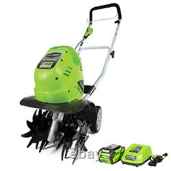 Greenworks 40V 10 inch Cordless Cultivator, 4.0 AH Battery Included 27062