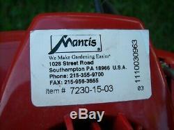 Mantis 7230 Tiller/Cultivator with kickstand, Tills 9 W x 10 D, 21cc 2-Cycle