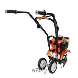Mini 52cc Gas Tiller Soil Garden Cultivator Yard Plant Farm Tilling Tool 6500RPM