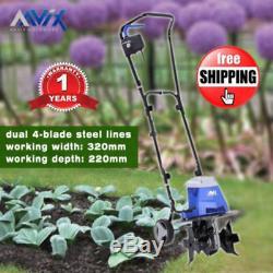 New 32cm Electric Cultivator Tiller Rotary Hoe Garden Tiller Lightweight