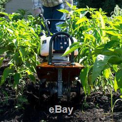 New Gas Garden Tiller Rototiller Cultivator Yard Raised Bed Front Tine Tool 43cc