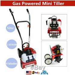Petrol Tiller Cultivator Rotavator 52CC 2HP 2-Stroke Motor Engine Rototiller USA