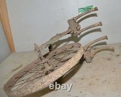 Rare antique Iron Age double tine single wheel cultivator collectible garden I1