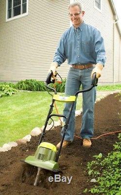 Small Garden Rototiller Electric Soil Tiller 14 Wide Cultivator Aerator Deep