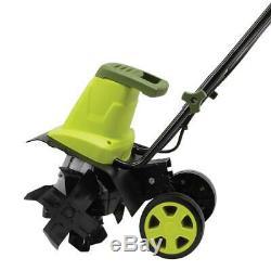 Sun Joe Garden Tiller Cultivator Electric Adjustable Wheels Powerful 8 Amp 12 in