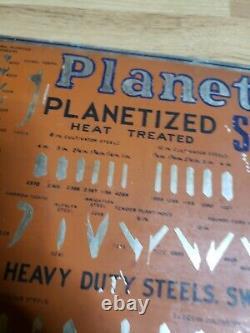 Vintage 1920's PLANET JR Tin Sign ADVERTISING Garden Cultivator Steels