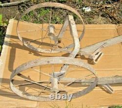 Vintage Antique Hand Push Garden Cultivator Wheels, Handle-chisel Bracket
