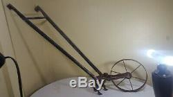 Vintage Antique Planet Jr. Garden Cultivator Single Wheel, Wooden Handles