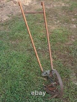 Vintage Antique Planet Jr. Garden Cultivator Single Wheel Wooden Handles Plow