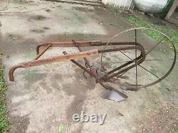 Vintage Walk Behind Garden Topsoil Cultivator Plow Tool & 5 attachments! Nice