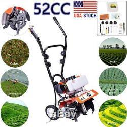 52cc 2strok Sol Gas Mini Tiller Cultivateur 6500rpm Jardin Des Plantes Tilling Outil