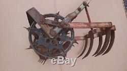 Ancien Motoculteur De Jardin Rowe Mfg. Rototiller Hoe Dirt Cultivator Charrue Vintage USA