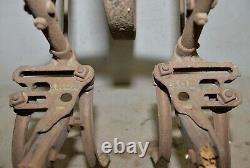 Antiquité Rare Âge Du Fer À Double Dents Simple Cultivateur Roue Jardin Collection I1