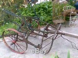 Cru Hippomobile Cultivator 1 Row-2 Chevaux Rouleaux Bon