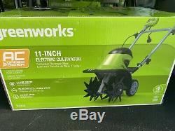 Greenworks 8,5 Amp 11 Pouces Corded Électrique Tiller / Cultivateur, Nouveau Vert