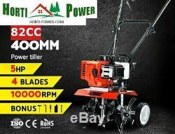 Tiller Cultivateur 82cc Essence Rotary Hoe Garden Mini 4-express Uk Tine Pro