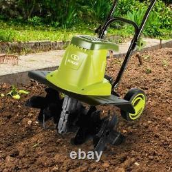 Tiller Joe 16in Garden Tiller Cultivateur 12amp Electric Greener Clean Dirt Slice