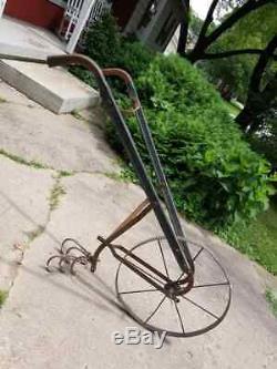 Tous Antique Iron Cultivateur Haute Roue Ferme / Jardin Plow
